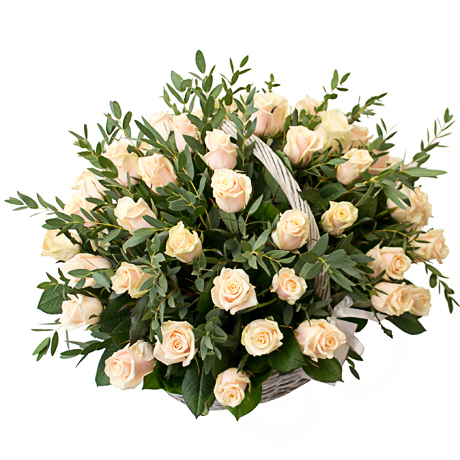 Basket of 39 roses Talea with greens