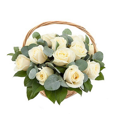 Basket of 19 roses and eucalyptus