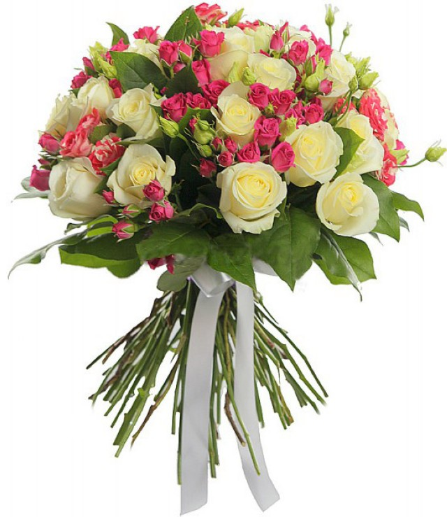 Bouquet of 25 roses Avalange with bushy pink rose