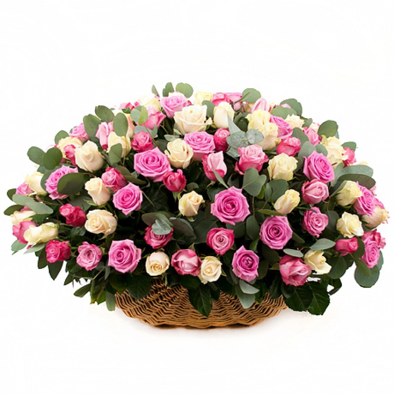 Basket of mix roses and eucalyptus
