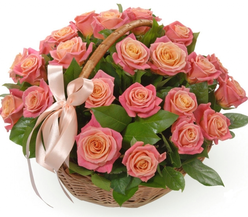 Basket of 19 roses Miss Piggy