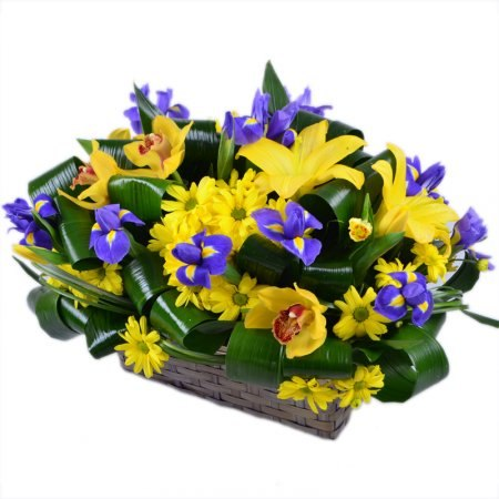 Basket with irises and orchids