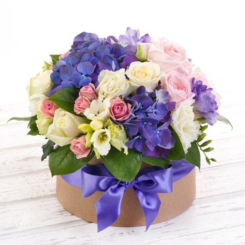 Flowers-Box with hydrangea