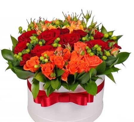 Flowers-Box with rose Orange Fire